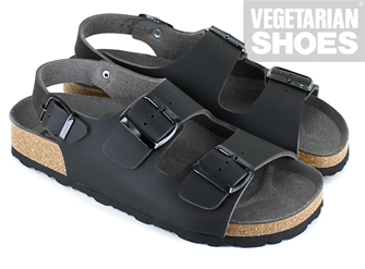 Three Strap Sandal (Black)
