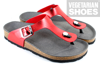 Toe Post Sandal (Metalic Red)