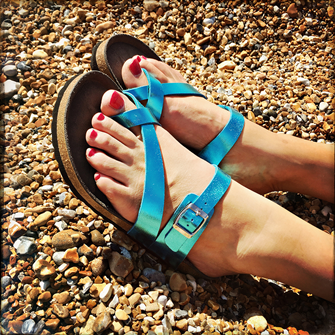 Toe Strap Sandal (Metalic Blue)