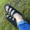 Triple Strap Sandal (Black)