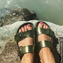 Two Strap Sandal (Metallic Green)