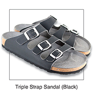 Triple Strap Sandal Black